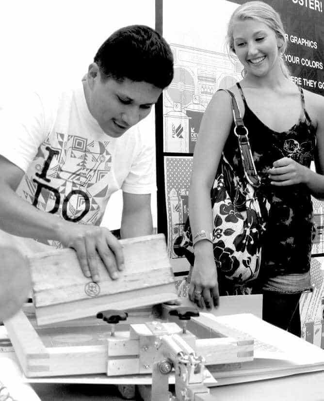 Live Screen Printing in front of spectators at a marketing event
